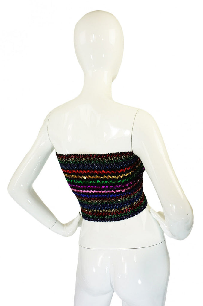 1970s Multi Stripe Wide Sequin Tube Top