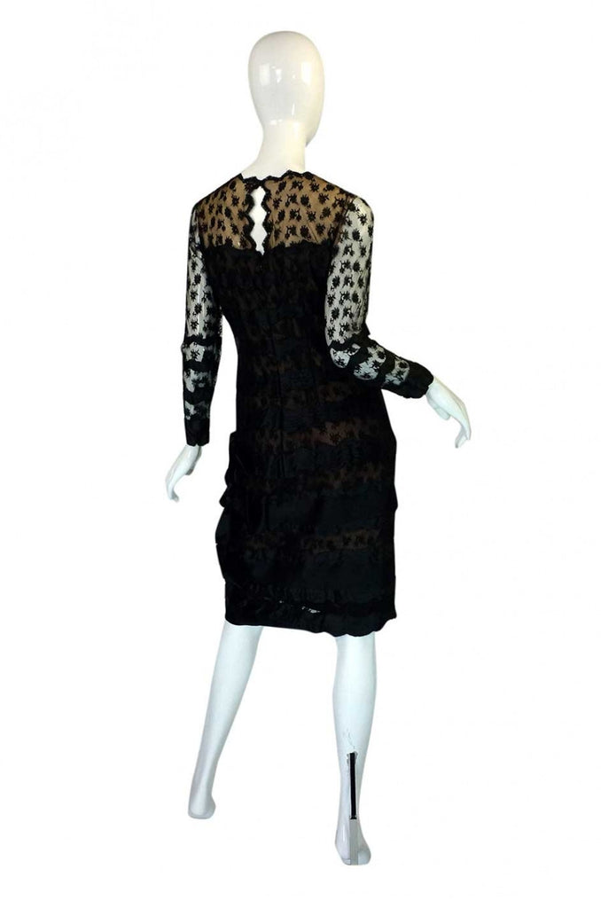 1970s Bill Blass Lace & Ribbons Dress