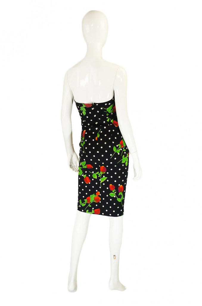 Runway 1980s Strapless Patrick Kelly Floral Dress