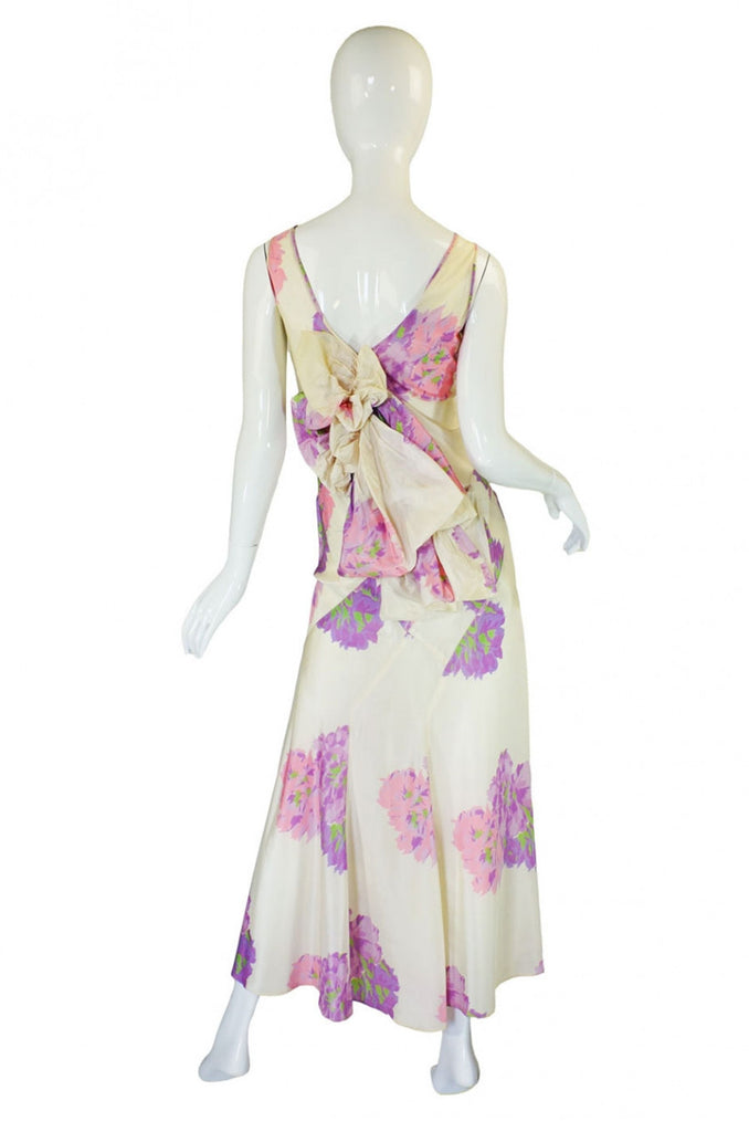 1930s Silk Taffeta Bias Cut Gown