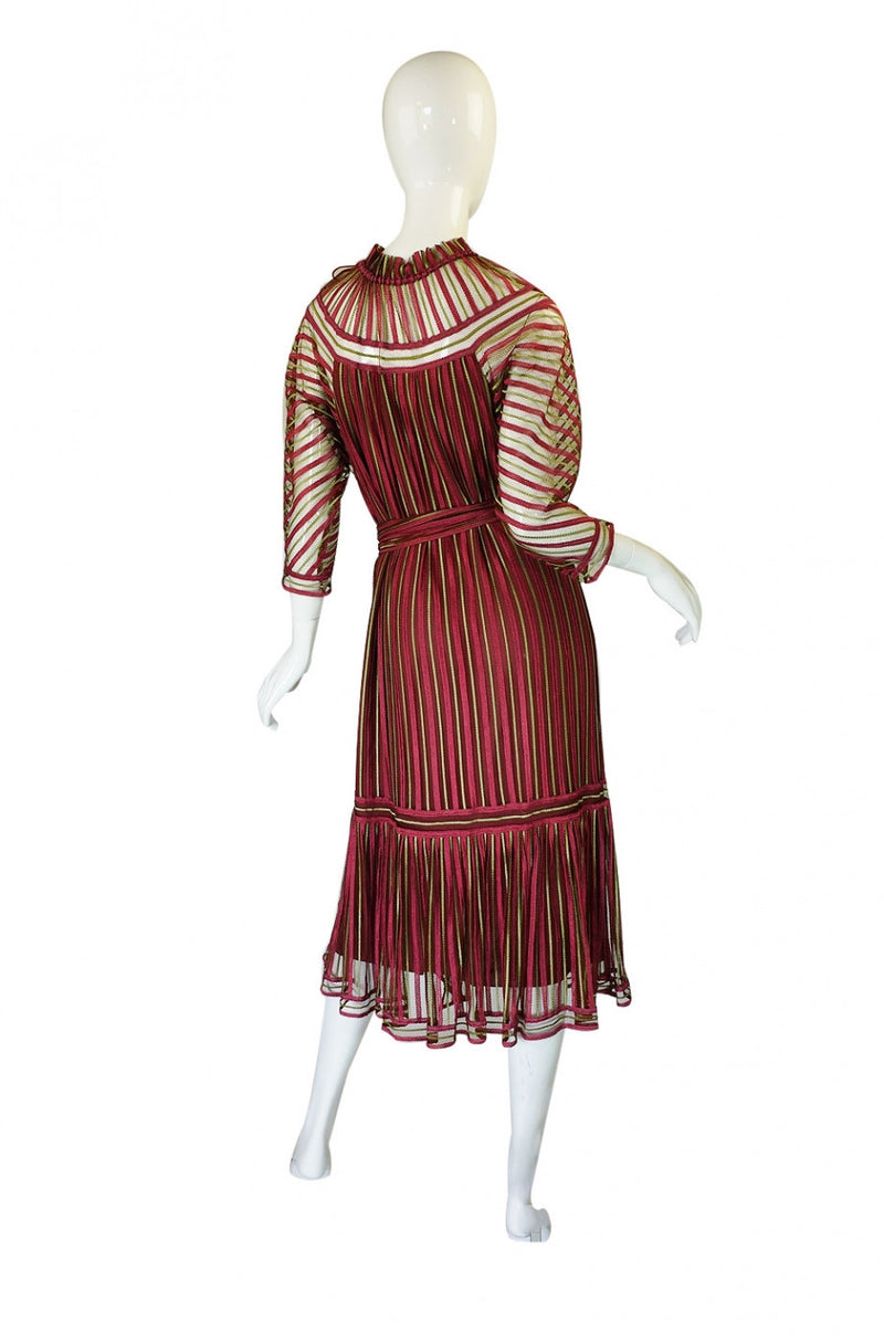 1970s Silk Net Janice Wainwright Dress