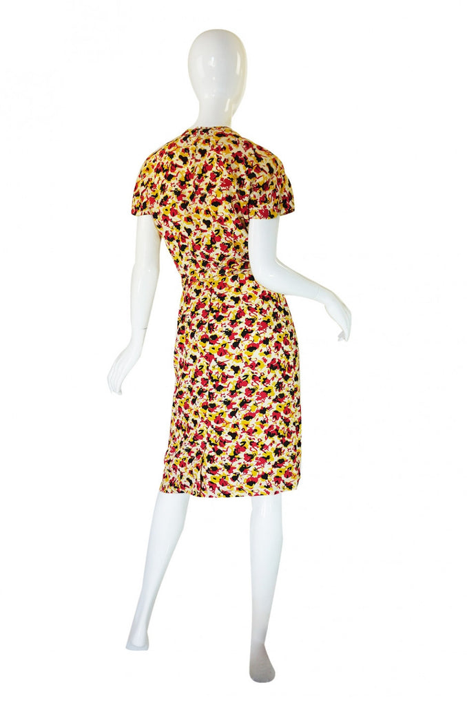 1940s Silk Floral Day Dress with Cutouts
