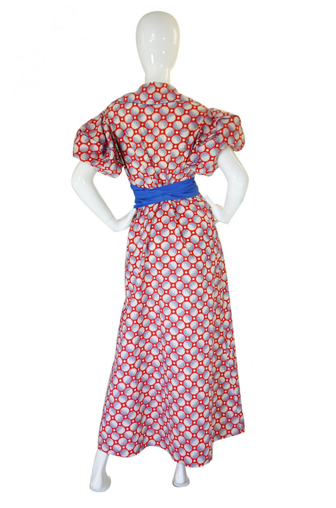 1930s Circle Sleeve Cotton Hostess Gown