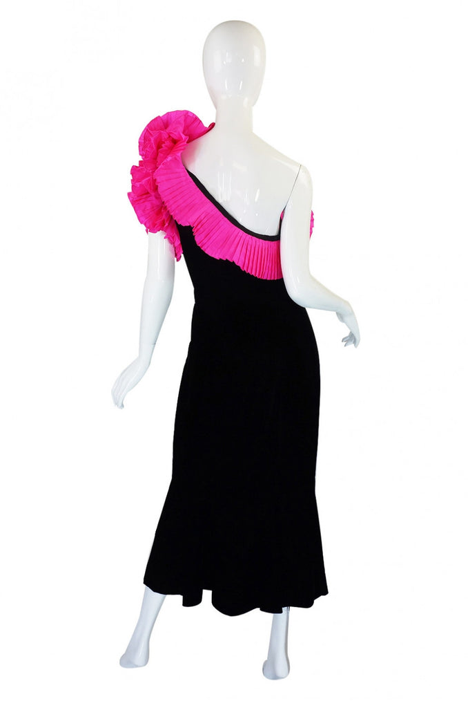 1980s Couture Nina Ricci Velvet Dress