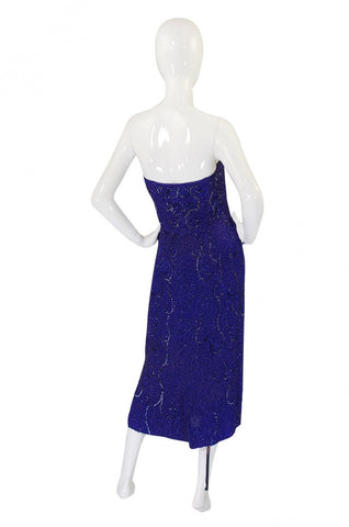 c1954 Ceil Chapman Strapless Bead & Sequin Silk Dress