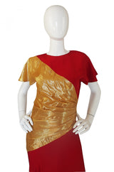1980s Bruce Oldfield Red & Gold Silk Gown
