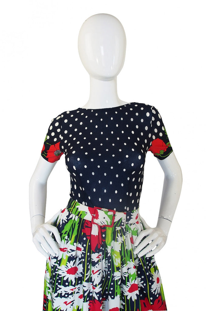1970s Dot and Floral J. Tiktiner Maxi Dress
