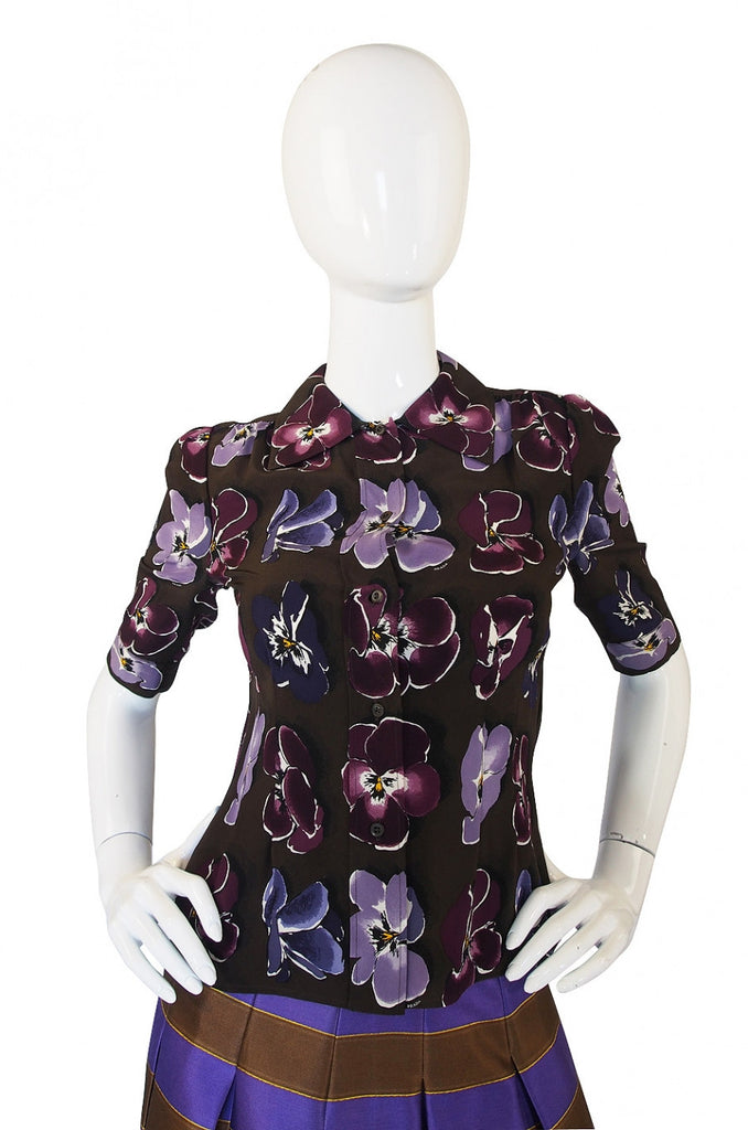 Recent Prada Silk Top & Skirt Set