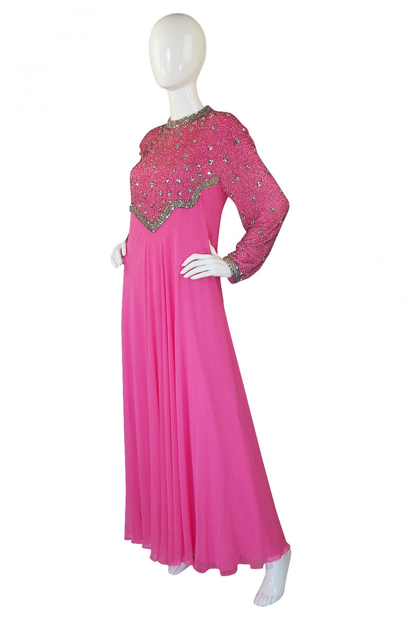 1960s Vibrant Pink Silk Chiffon Gown