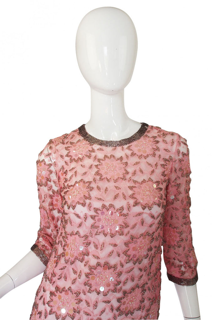 1960s Beaded Pink Shift Dress