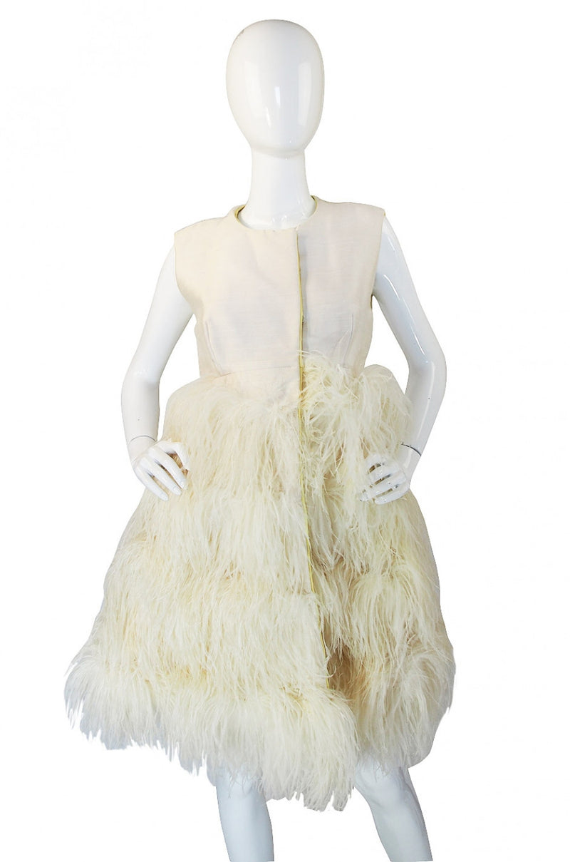 1960s Mr Blackwell Custom Feather Dress