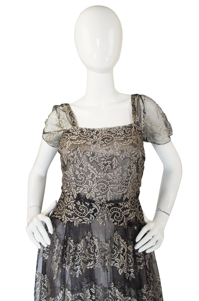 1940s Stunning Silver Lace & Net Gown