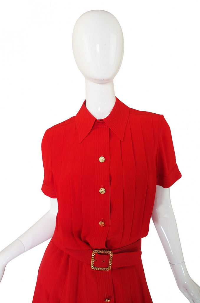 1970s Red Silk Chanel Dress & Belt