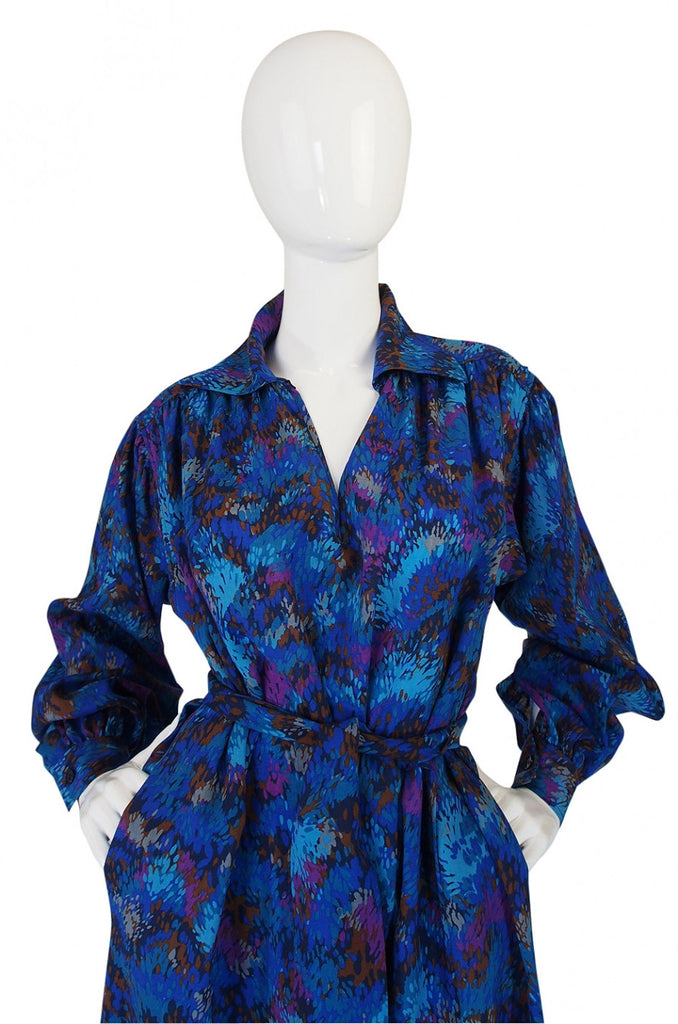 1970s Yves Saint Laurent Challis Blue Dress