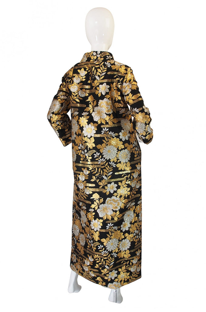 1960s Gold Brocade Evening Maxi Coat