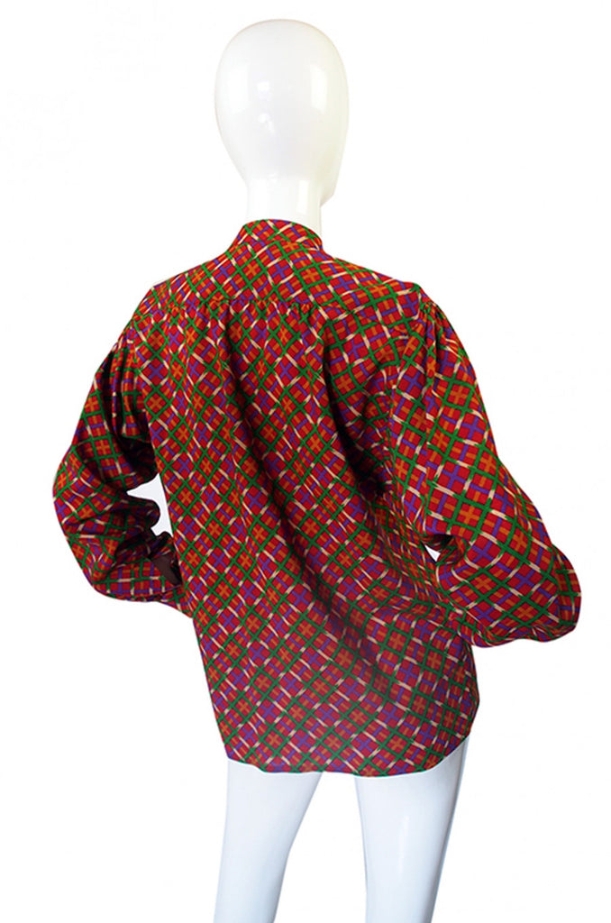 1970s Cross Print Yves Saint Laurent Top