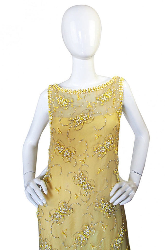 1960s Beaded Yellow Organza Malcolm Starr