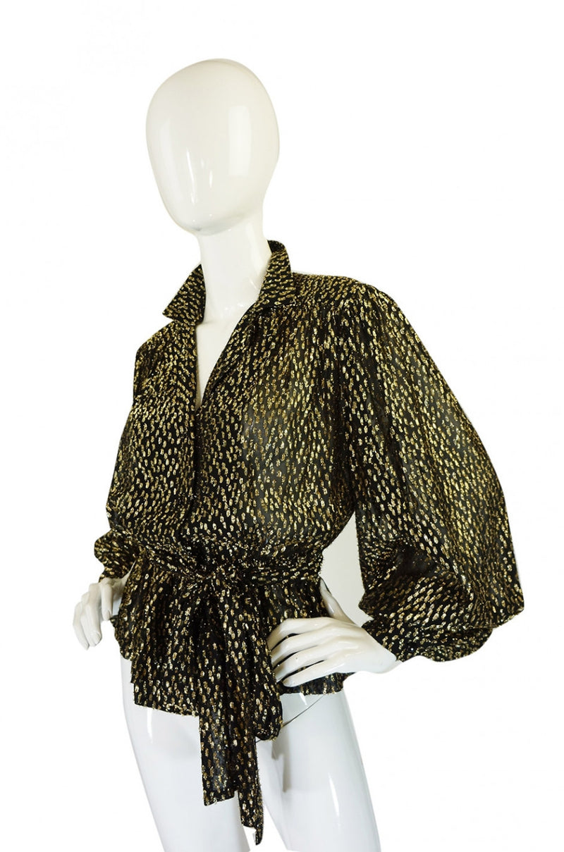 1960s Glam Gold Lame and Chiffon Top
