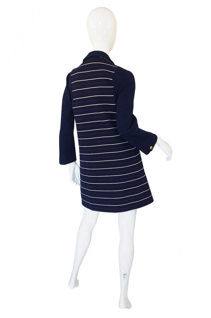 1960s Striped Knit Shift Dress & Coat