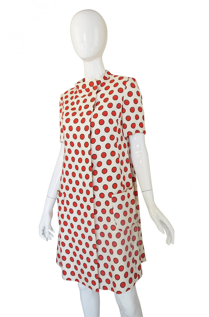 1960s Linen Dot Coat or Dress
