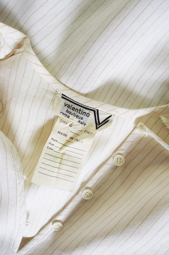 1970s Valentino Linen Striped Top