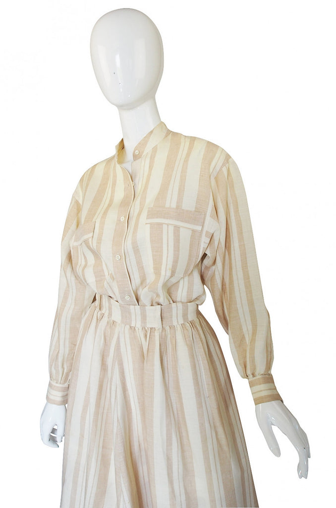 1973 Valentino Linen Skirt & Top Set