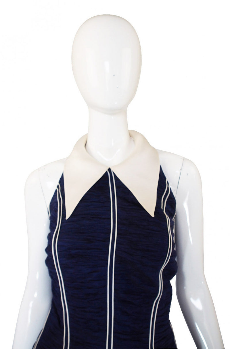 1990s Jacque Fath Pleat Backless Dress