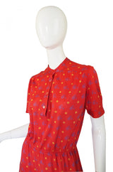 1970s Celine Bicycle Print Shirt Dress