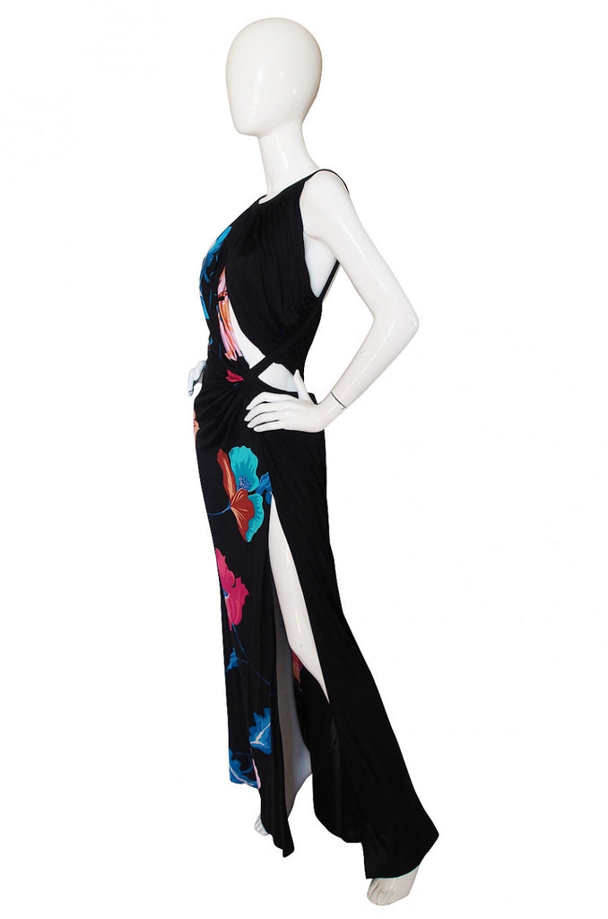S/S 2001 Versace Couture Printed Jersey Cut Out Gown