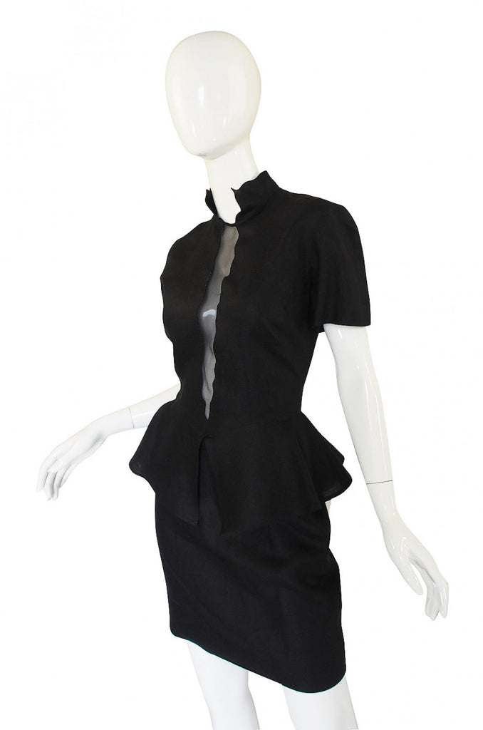 1990s Louid Feraud Linen Peplum Dress