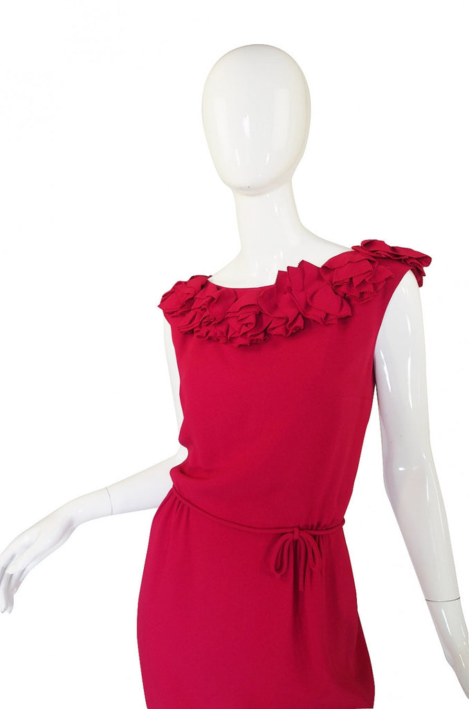 1960s Backless Red Ruffle Dress