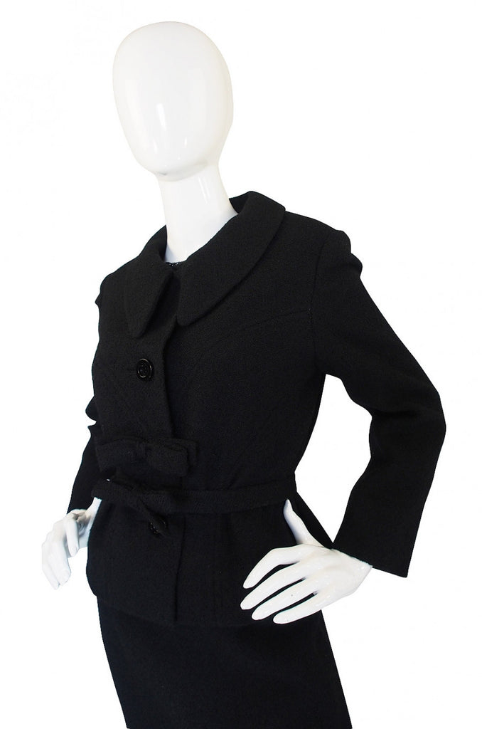1960s Black Boucle Suit & Eyelash Shell