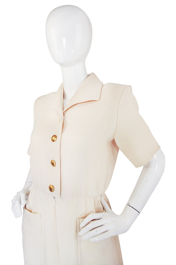 1980s Yves Saint Laurent Cream Day Dress