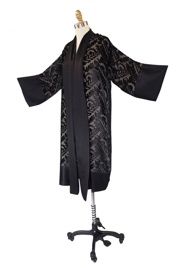1920s Silk Devore & Chiffon Flapper Robe