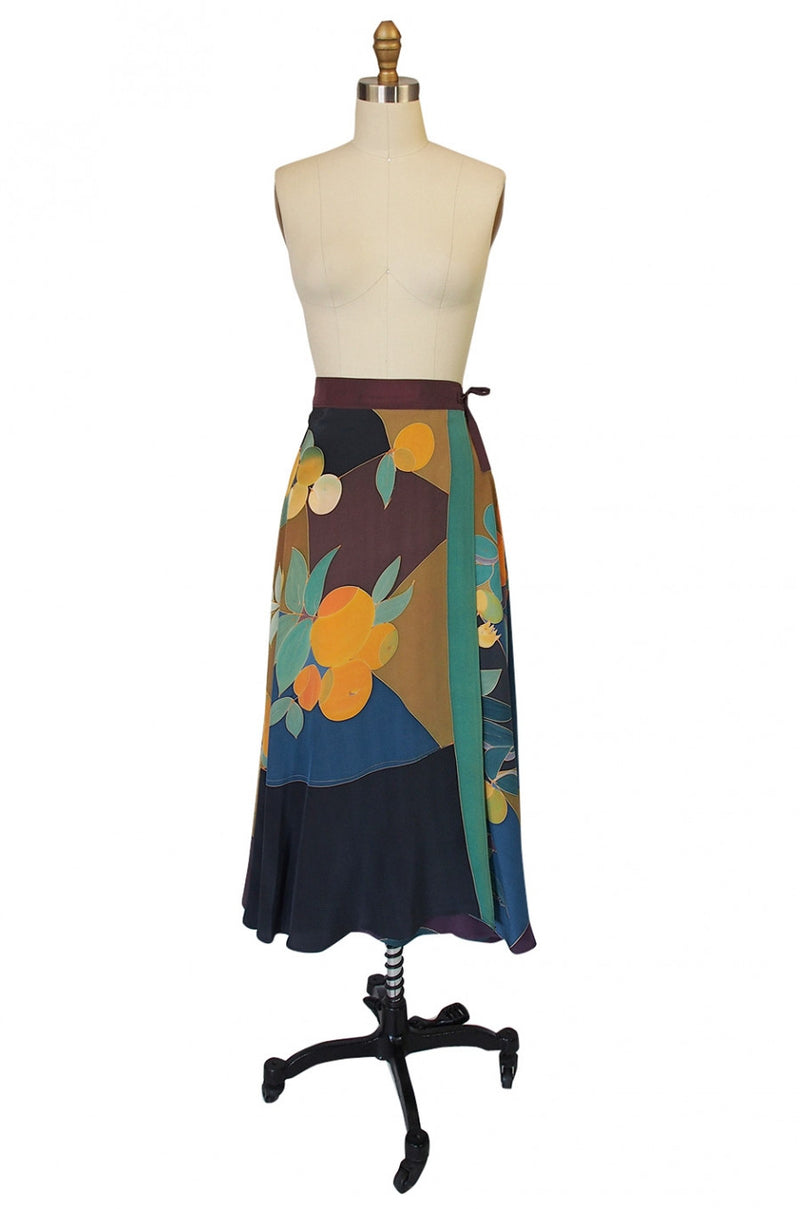 1970s Hand painted Silk Skirt & Shawl