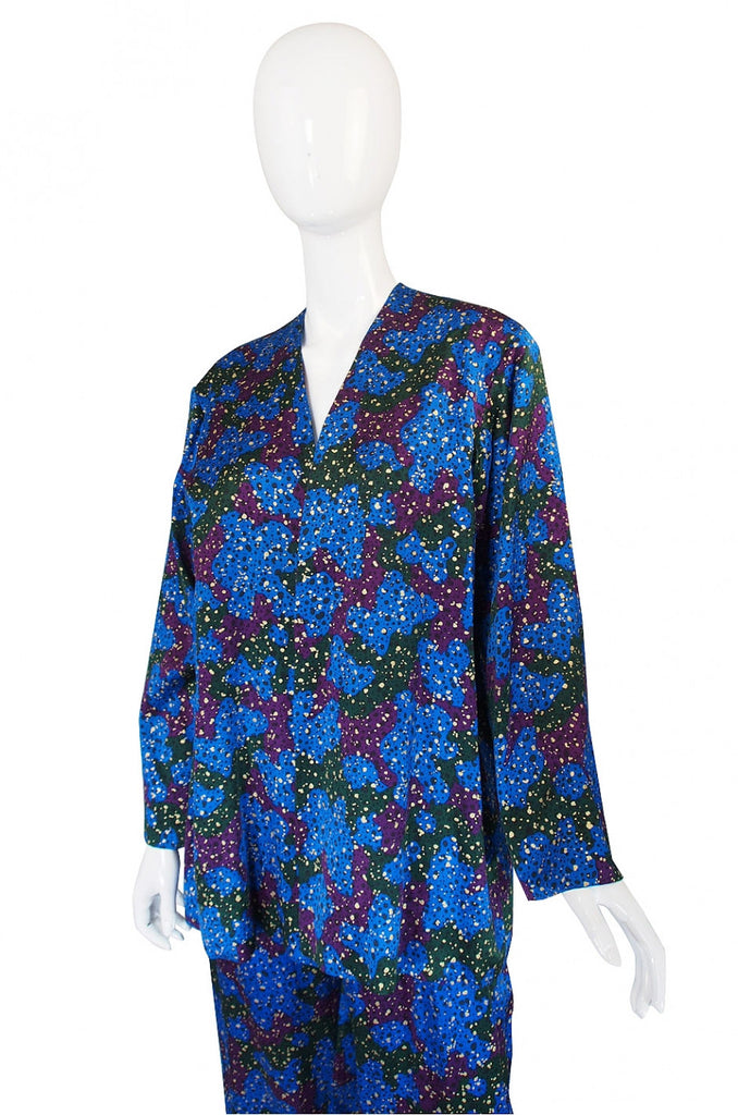 1980s Yves Saint Laurent Blue Jacket & Pant
