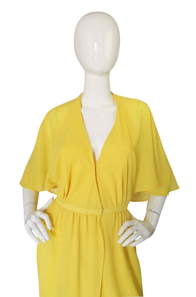1970s Yellow Crepe Halston