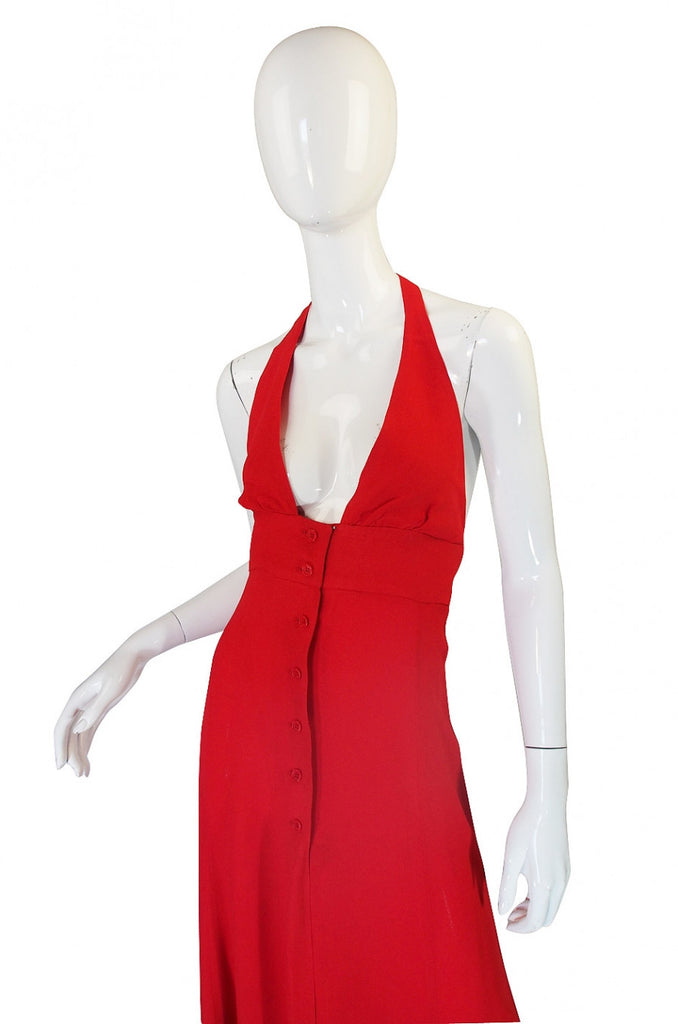 1970s Plunge Halter Ossie Clark Red Dress