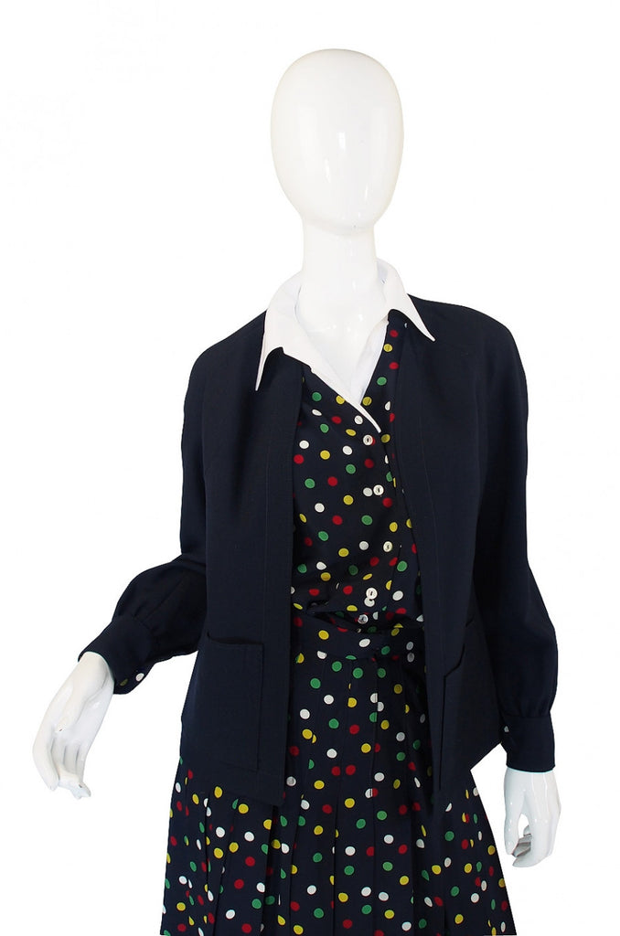 1970s Pretty Dot Chloe Silk Suit