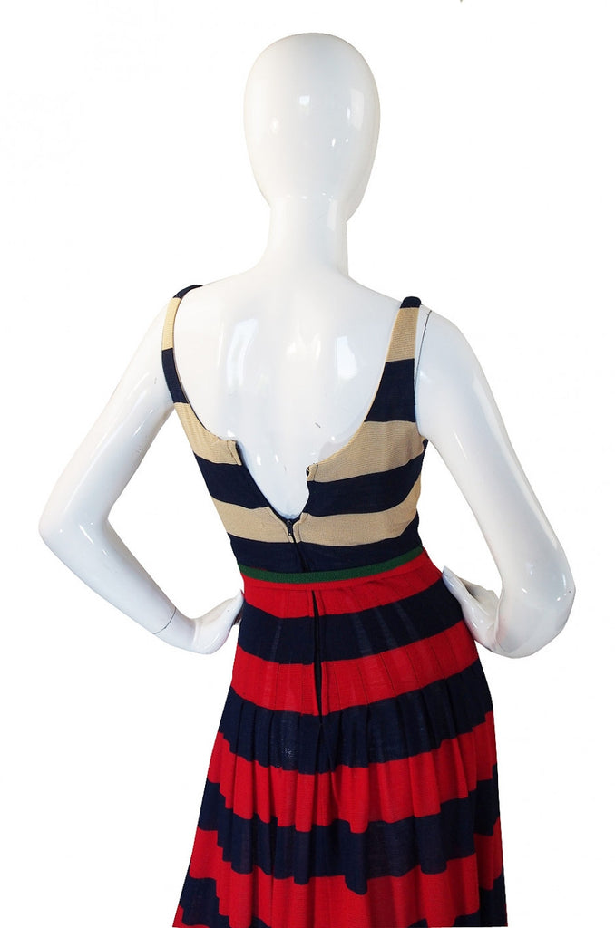 1970s Lanvin Striped Knit Maxi Dress