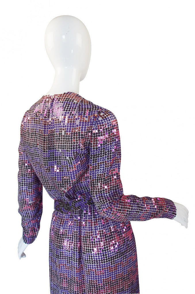 1960s Irredescent Sequin Bill Blass Gown