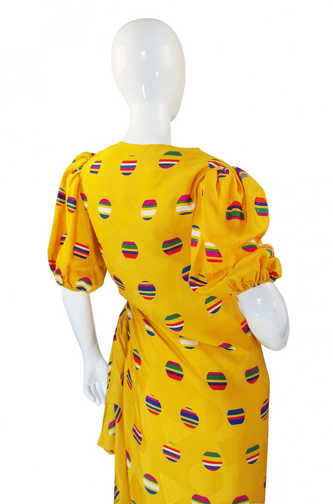 1980s Oscar De La Renta Silk Dress