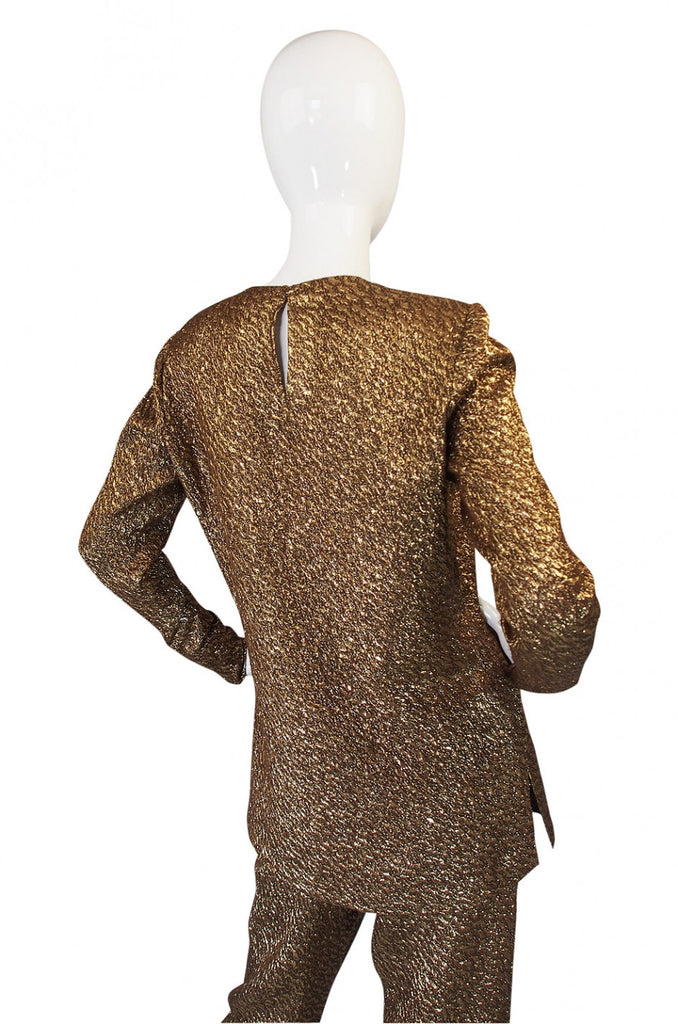 1960s Pierre Balmain Gold Silk Brocade Set