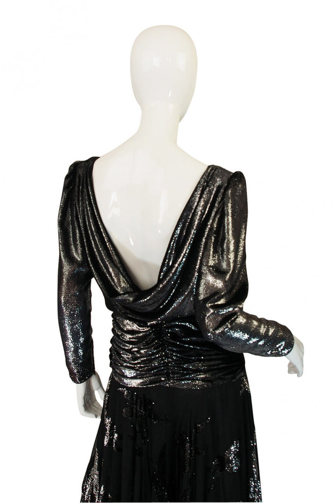 1980s Silver Accent Low Back Valentino Gown