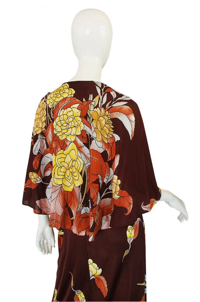 1970s Mac Tac Caped Floral Jersey Maxi Dress