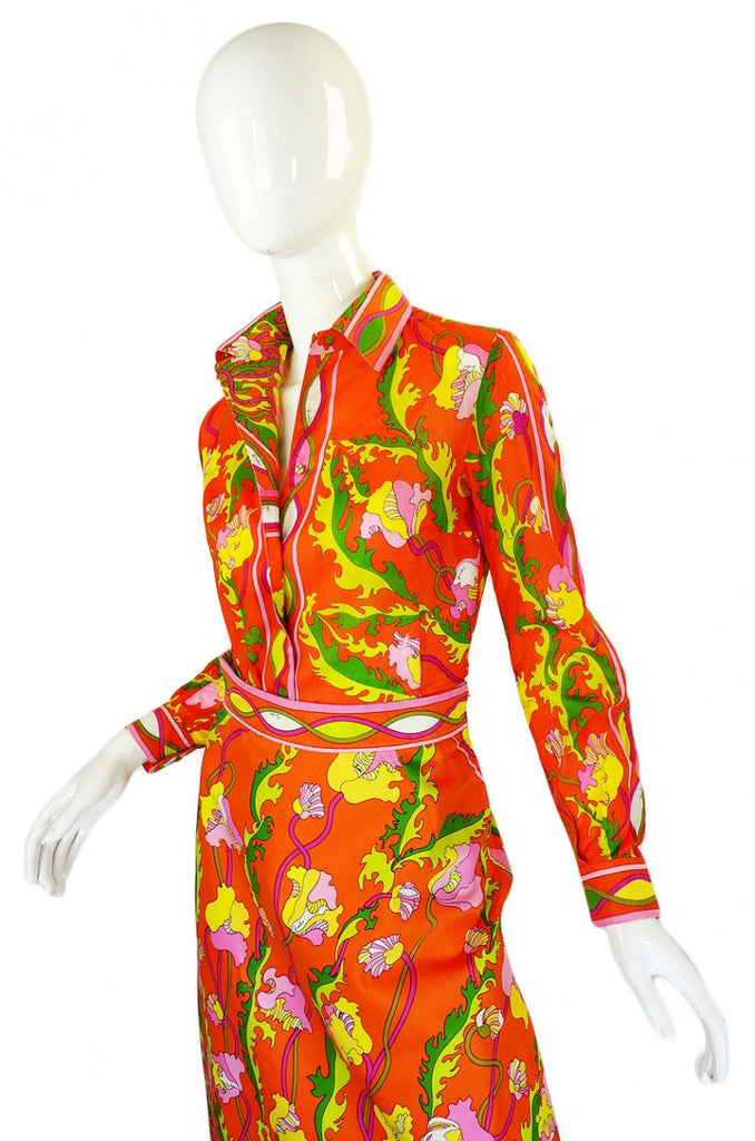 1960s Citrus Pucci Top & Pointed Skirt