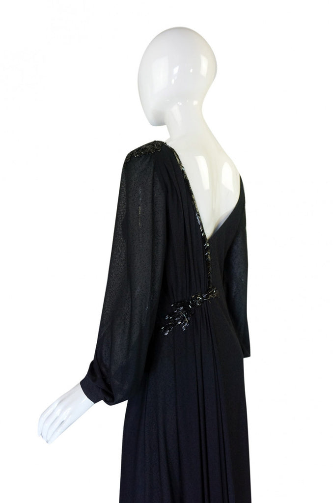 1970s Sant' Angelo Low Back Bead Gown