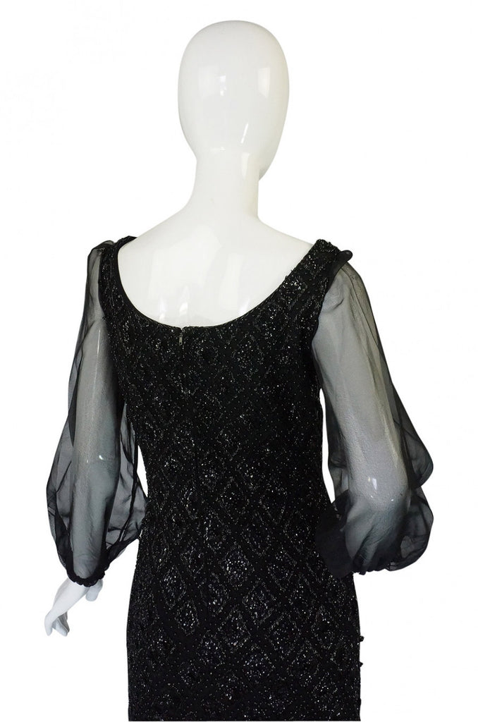 1960s Heavy Hand Beaded Black Shift