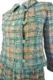 1960s Christian Dior Teal Boucle Suit