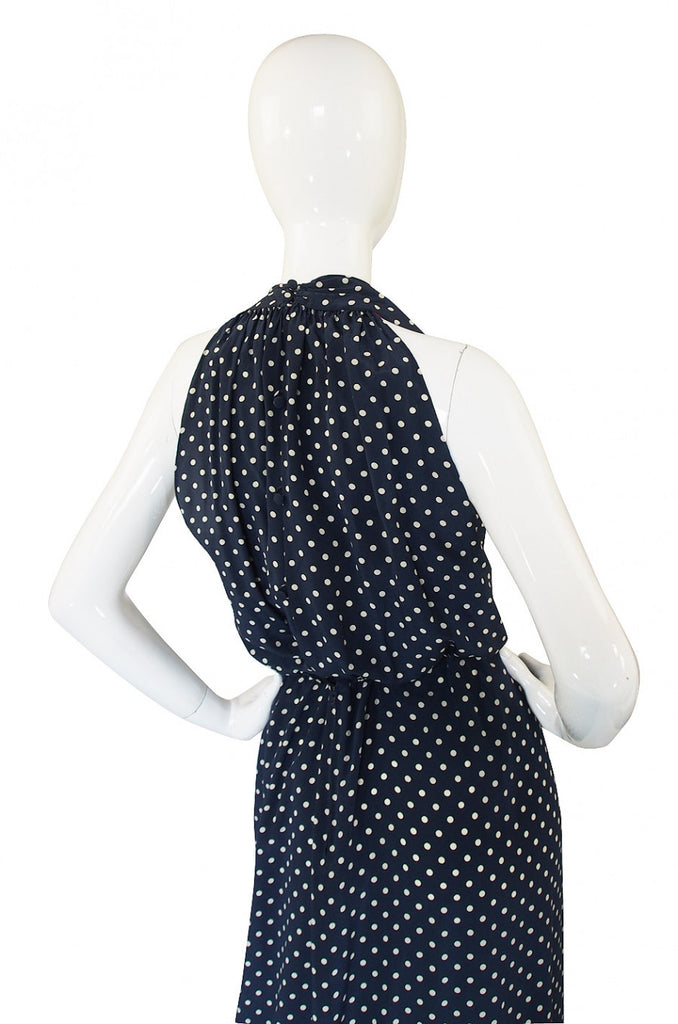 1970s Silk Bill Blass Dot Halter Gown